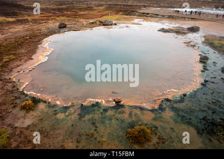 Iceand, Haukadalur valley, Geothermal site with hot spring, great geyser - Stock Photo