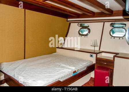 Bodrum, Turkey, 26 October 2010: Gulet Wooden Sailboats Cabin - Stock Photo