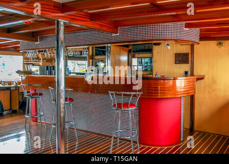 Bodrum, Turkey, 26 October 2010: Gulet Wooden Sailboats Bar - Stock Photo