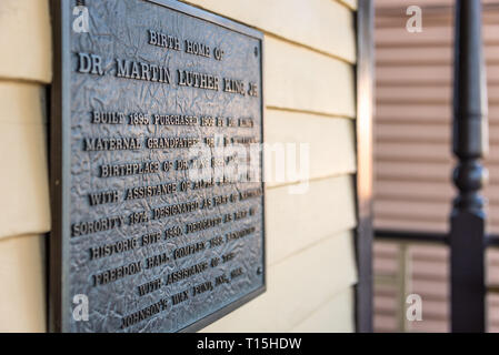 Historical plaque at the birth home of Dr. Martin Luther King, Jr. in Atlanta, Georgia. (USA)