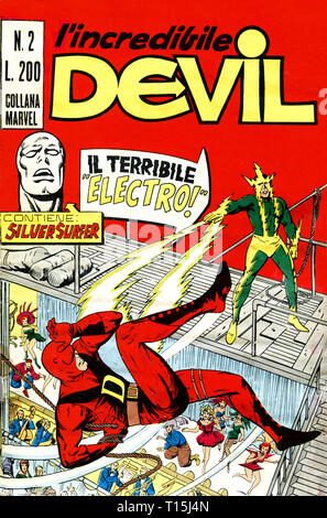 Italy - 1970: first edition of Marvel comic books, cover of Daredevil, l'incredibile Devil - Stock Photo