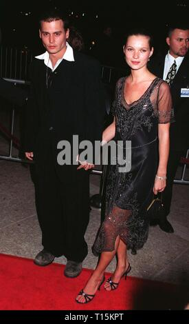 LOS ANGELES, CA. March 02, 1997: Johnny Depp & girlfriend supermodel Kate Moss at the premiere of his new movie, 'Donnie Brasco,' in which he stars with Al Pacino. - Stock Photo