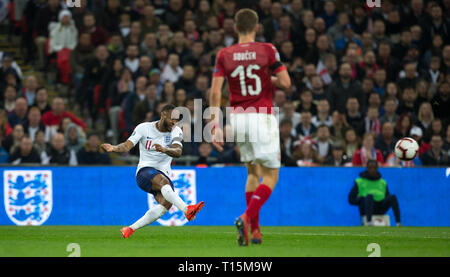 London, UK. 22nd Mar, 2019. Raheem Sterling of England scores his 3rd goal during the UEFA 2020 Euro Qualifier match between England and Czech Republic at Wembley Stadium, London, England on 22 March 2019. Photo by Andy Rowland/PRiME Media Images. Credit: Andrew Rowland/Alamy Live News - Stock Photo