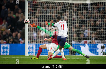 London, UK. 22nd Mar, 2019. Raheem Sterling of England scores his 2nd goal during the UEFA 2020 Euro Qualifier match between England and Czech Republic at Wembley Stadium, London, England on 22 March 2019. Photo by Andy Rowland/PRiME Media Images. Credit: Andrew Rowland/Alamy Live News - Stock Photo
