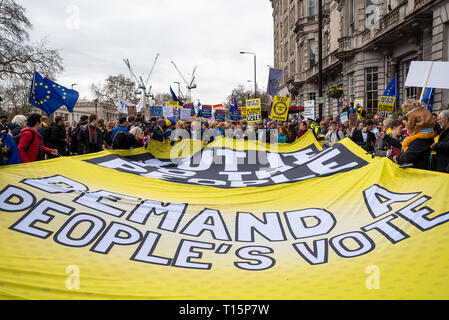 London, UK. March 23rd 2019. Put it to the People March. The Peoples Vote March formed up in Park Lane to march to Parliament Square. Up to a million protesters were  expected to march through central London demanding a Peoples Vote on any Brexit deal. Pictured, marchers in Piccadilly en route to Parliament Square. Credit: Stephen Bell/Alamy Live News - Stock Photo