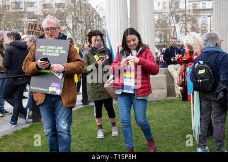 London, UK. 23rd Mar, 2019. Hundreds of thousands of people have joined Brexit march protest to demand new referendum in Central London, UK Credit: tottotophotography/Alamy Live News - Stock Photo