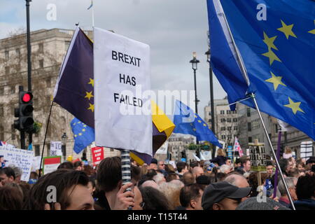 London, UK. 23rd Mar 2019. UK Hundreds of thousands attended People's Vote March in Central London demanding a second referandum on final deal Credit: Emin Ozkan/Alamy Live News - Stock Photo