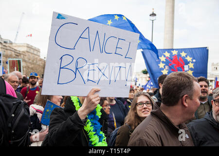London, UK. 23rd Mar 2019. Hundreds of thousands of people protest in central London demanding a second vote on membership of the European Union Credit: Ink Drop/Alamy Live News - Stock Photo