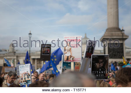 London, UK. 23rd Mar 2019. The People's Vote March For The Future on 23rd of March 2019 in London, United Kingdom. More than 1000,000 people marched to Westminster Parliament to demand their democratic voice to be heard in a landmark demonstration billed as the most important protest of a generation. As the date of the UK's Brexit from the European Union, the protesters gathered in their tens of thousands to make political leaders take notice and to give the British public a vote on the final Brexit deal. Credit: Awakening/Alamy Live News - Stock Photo