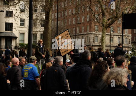 London, UK. 23rd Mar 2019. Remain supporters gathered in London and marched to Parliament Square demanding a second referendum on the issue of Brexit. The march was organized under the banner of People's Vote. Credit: Angus MacKinnon/Alamy Live News - Stock Photo