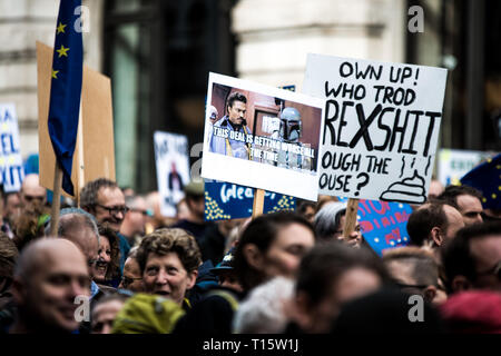 London, UK. 23rd Mar, 2019. Protester are seen holding placards during the demonstration.Thousands of protesters gathered at central London to take part in the Put It to the People March. The march from Park Lane to Parliament Square was organised by the Peoples Vote campaign and is calling for a public vote on the Governments final Brexit deal. Credit: Brais G. Rouco/SOPA Images/ZUMA Wire/Alamy Live News - Stock Photo