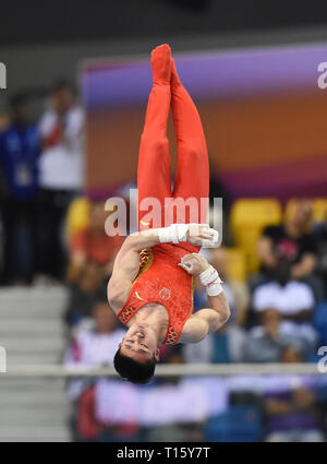 Doha, Qatar. 22nd Mar, 2019. Lan Xingyu of China competes during the men's rings final of the 12th FIG Artistic Gymnastics World Cup in Doha, Qatar, on March 22, 2019. Credit: Nikku/Xinhua/Alamy Live News - Stock Photo