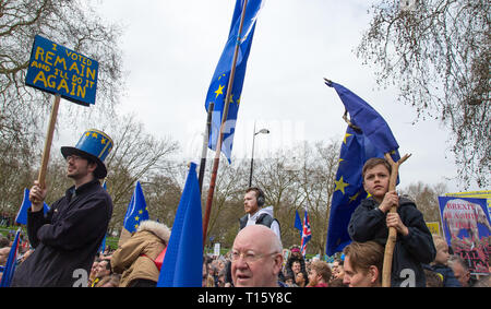 London, UK. 23rd Mar, 2019. Thousands descend on London for Put it to the People protest demanding a second referendum in a BREXIT march in central LONDON on 23 March 2019. Photo by Andy Rowland. Credit: Andrew Rowland/Alamy Live News - Stock Photo