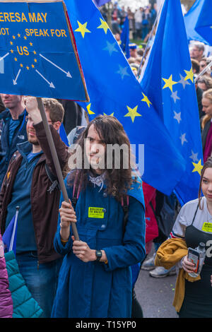 London, UK. 23rd Mar, 2019. Hundreds of thousands Remain campaign protesters join People's Vote March in central London demanding a vote on the final Brexit deal. Credit: Beata Aldridge/Alamy Live News - Stock Photo