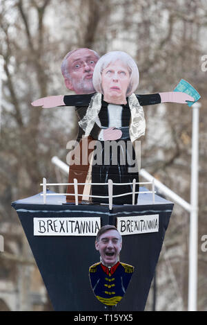 London, UK. 23rd Mar, 2019. Peoples Vote March, Brexitannia Titanic. Crowd detail and banners as taken from the perspective of a protester. Remain banners, second referendum. Credit: Tony Pincham/Alamy Live News - Stock Photo