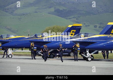 California, USA. 23rd Mar, 2019. 23rd March, 2019   Salinas, California, USA      Scvenes from the annual  Salinas Air-Show, featuring the US Navy 'Blue Angels' arobatic team Credit: Motofoto/Alamy Live News - Stock Photo