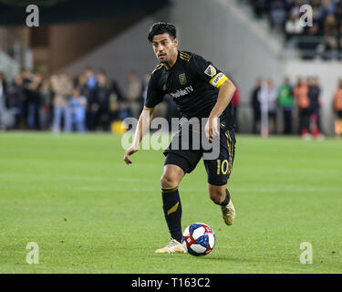 Los Angeles, CA, USA. 23rd Mar, 2019. Los Angeles FC forward Carlos Vela (10) during the Los Angeles Football Club vs Real Salt Lake at BANC OF CALIFORNIA Stadium in Los Angeles, Ca on March 23, 2019. Jevone Moore Credit: csm/Alamy Live News - Stock Photo