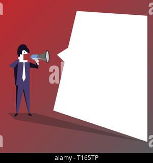 Businessman Shouting on Megaphone and Blank White Uneven Shape Speech Bubble Business Empty template for Layout for invitation greeting card promotion - Stock Photo