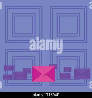 Pastel Color Closed Envelopes in Different Sizes with Big one in the Middle Design business concept Empty copy space modern abstract background - Stock Photo