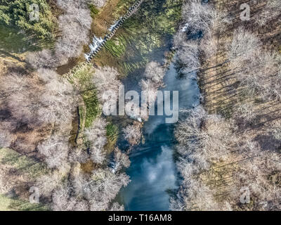 Aerial view of drone, artificial lake and dense forest on the banks, in Portugal - Stock Photo