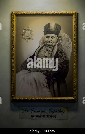 15-04-2015-Frame of sir jamshedjee jeejeebhoy, bhau daji lad museum, mumbai, maharashtra, india, asia - Stock Photo