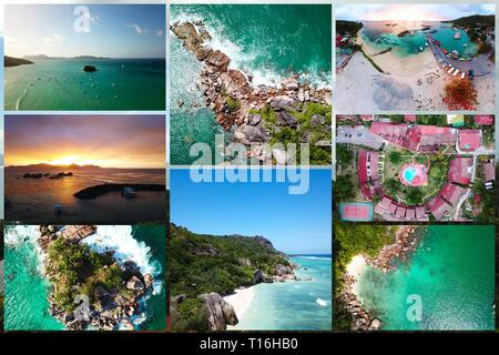Collage of Photos made on the Seychelles with a drone - Stock Photo