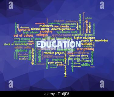Word cloud, concept illustration shows words related to knowledge, learning, education, wisdom and similar concepts, on low poly background. Vector ES - Stock Photo