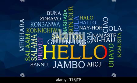 Hello word Cloud, concept illustration, shows equivalents of 'hello', how to say it in many languages, vector ESP10 - Stock Photo