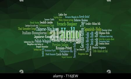 Hello word Cloud, shows equivalents of 'hello', how to say it in many languages, vector ESP10 - Stock Photo