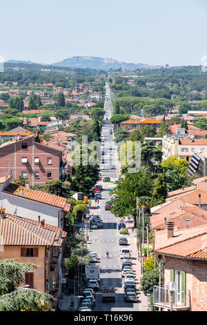 Castiglione del Lago, Italy - August 28, 2018: Aerial vertical view on Umbria Rocca in sunny summer day with cityscape of houses and street road - Stock Photo