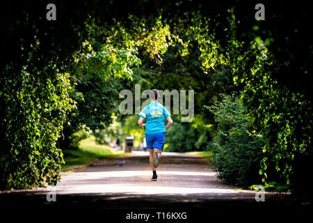 London, UK - June 24, 2018: Man running jogging back in alley path in Hyde Park in Kensington tunnel canopy green tree view during summer in United Ki - Stock Photo