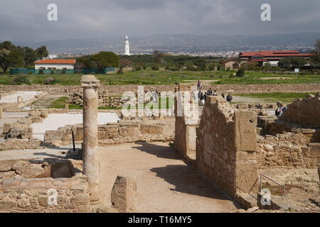 Paphos Archaeological Park covers most of the important ancient Greek and Roman City and is a UNESCO World Heritage site. - Stock Photo