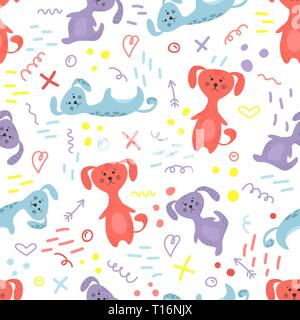 Cute seamless pattern with dogs and doodles. Flowers in a pots. Hygge home. Vector background design. - Stock Photo