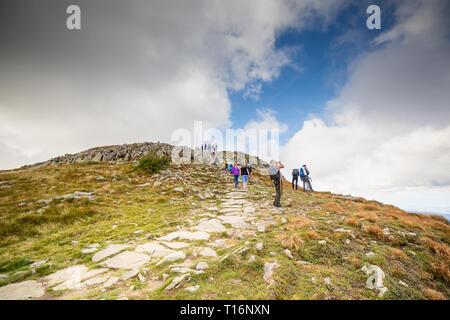 ZAWOJA, POLAND  - SEPTEMBER 16, 2018: People on the way to Babia Gora - Diablak -  the highest mountain in Polish Beskid Mountains - Stock Photo