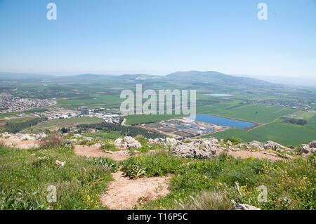 Mount Precipice and a view of Jezreel Valley - Stock Photo