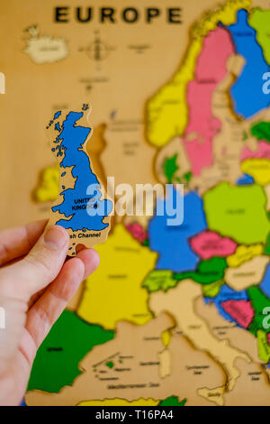 A puzzle map of Europe, showing Britain's possible departure - Stock Photo