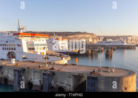Dover, Kent, UK; 25th February 2019;  Ferries Docked at the Port of Dover - Stock Photo