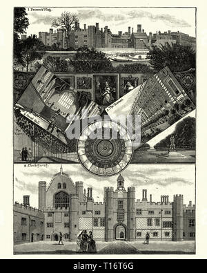Vintage engraving of Hampton Court Palace, a royal palace in the borough of Richmond upon Thames.  Building of the palace began in 1515 for Cardinal Thomas Wolsey, a favourite of King Henry VIII. - Stock Photo