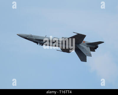 Kleine-Brogel, Belgium - September 8, 2018: image of an F-18 of the spanish air force flying upside down. - Stock Photo