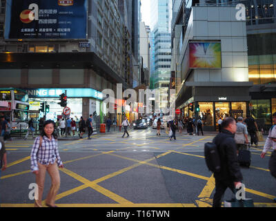 Central, Hong Kong - November 1, 2017: The crowds at Des Voeux Road Central, during the eve. - Stock Photo