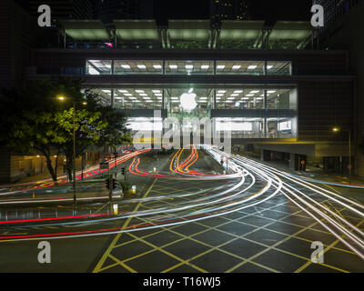 Central, Hong Kong - November 4, 2017: An image with slow shutter speed of the apple store in Hong Kong. - Stock Photo