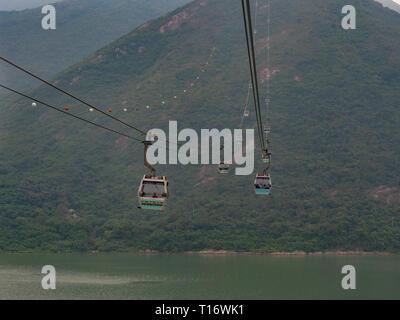 Lantau Island, Hong Kong - November 6, 2017: Image of the cable car that leads to the Tian Tan Buddha in Hong Kong. - Stock Photo