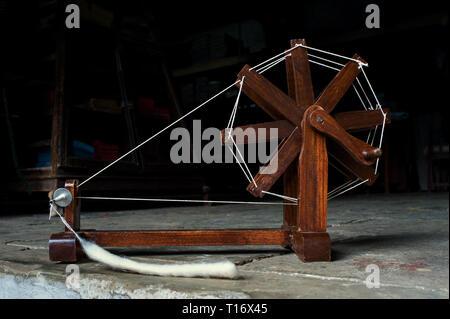 09-12-2010- Mahatma Gandhi charkha spinning wheel Ahmedabad gujarat INDIA - Stock Photo