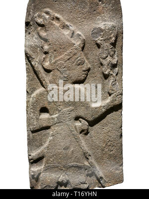 Hittite monumental relief sculpture ofa God probably holding lightning rods. Late Hittite Period - 900-700 BC. Adana Archaeology Museum, Turkey. Again - Stock Photo