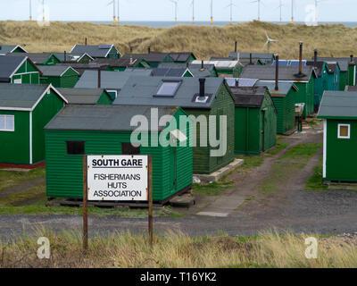 Notice South Gare Fisherman's Huts Association at Teesmouth, Redcar England UK England UK - Stock Photo