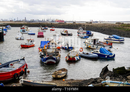 Fishing and pleasure boats in Paddys Hole Harbour, Teesmouth, Redcar Cleveland UK - Stock Photo