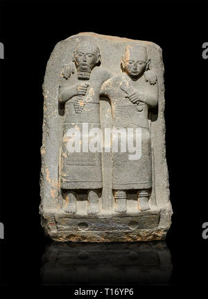 Hittite monumental relief sculpture of of two seated figure, not a typical Hittite style with a lot of other influences. Late Hittite Period - 900-700 - Stock Photo