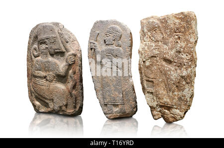 Hittite monumental relief sculptures, 900 - 700 BC, from Adana Archaeology Museum, Turkey. Against a white background - Stock Photo