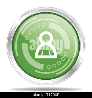 Person silver metallic chrome border round web icon, vector illustration for webdesign and mobile applications isolated on white background - Stock Photo