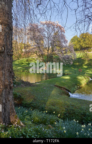 The gardens of St Fagans Catle, St Fagans National Museum of History, Cardiff, South Wales - Stock Photo